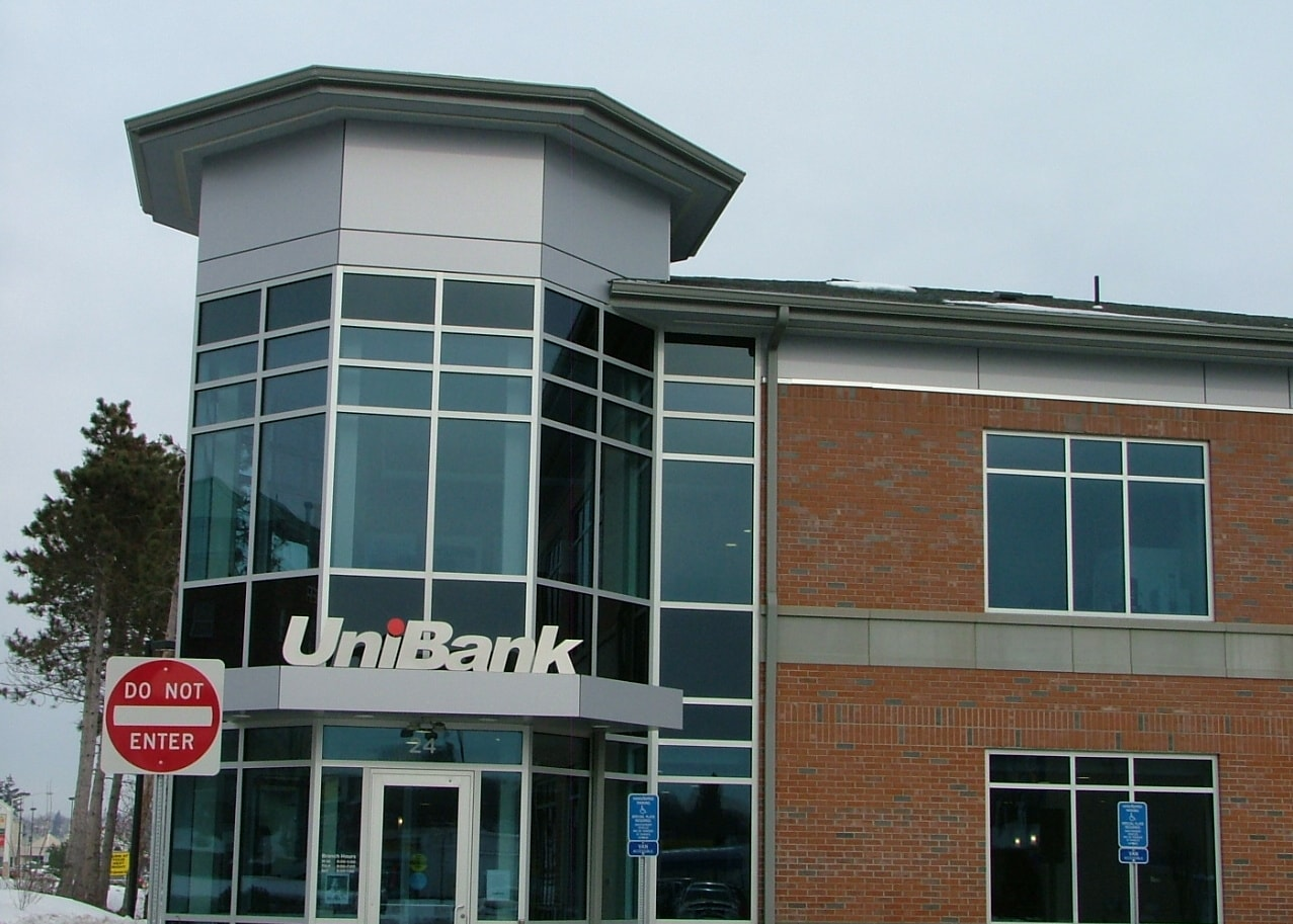 Commercial Gutter System On Unibank In Worcester Ma