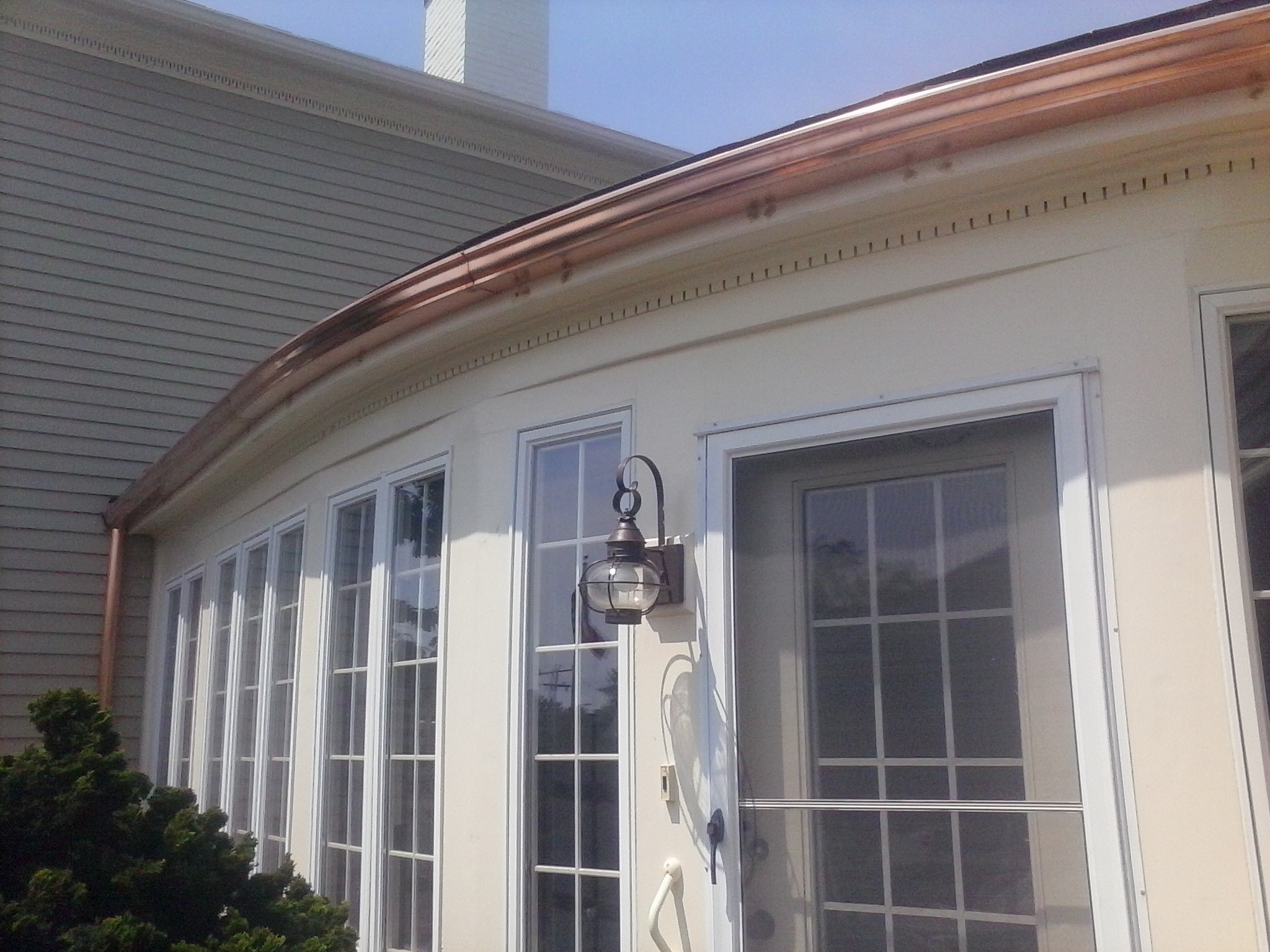 Radius Copper Gutter Installed By Gutter Pro Chatham Ma
